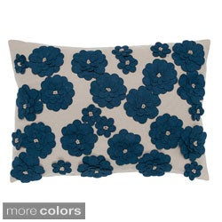 Felt Daisy Hand-textured 20-inch Decorative Down Fill Pillow