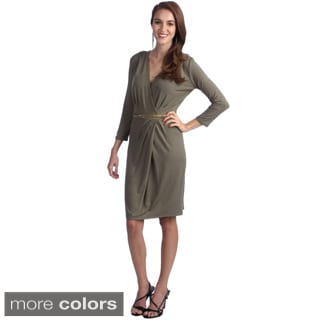 Amelia 3/4 Sleeve Belted Wrap Dress