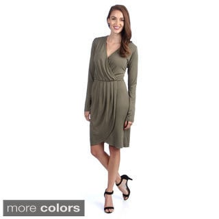 Amelia Long Sleeve V-neck Mock Wrap Dress