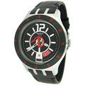 Swatch Men's Irony YTS402 Black Leather Quartz Watch with Black Dial
