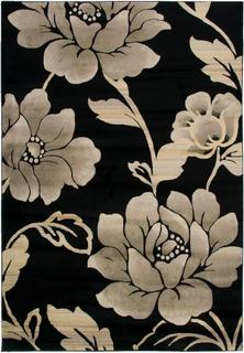Power-loomed Handicraft Imports Gibraltar Floral Black 100-percent Heat-set Polypropylene Area Rug (6'7 x 9'6)