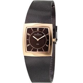 Skagen Women's Designer 563XSRM Brown Stainless-Steel Quartz Watch with Brown Dial