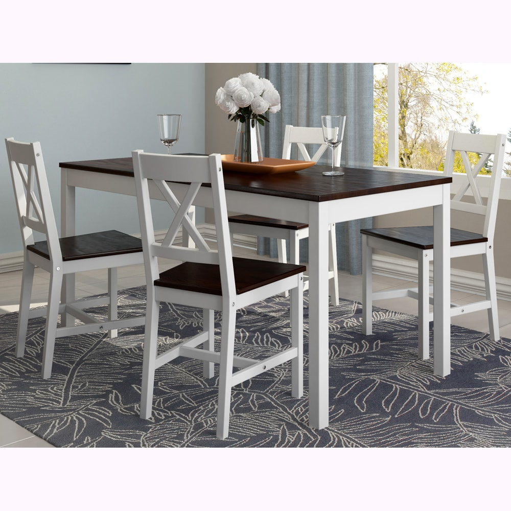 CorLiving Cappuccino White Dining Table Set Of 5
