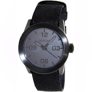 Nixon Men's Private A049001-00 Black Cloth Quartz Watch with Black Dial