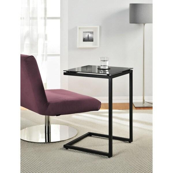 Altra Modern Black Glass Top C Table
