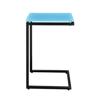Altra Modern Teal and Black Glass Top C End Table