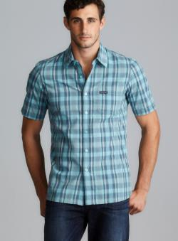 CK Jeans Short Sleeve Blue Plaid Button Down Shirt