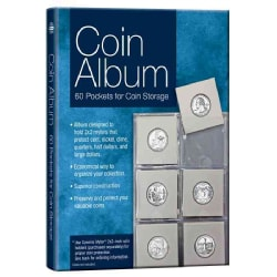 Coin Album: 60 Pockets for Coin Storage (Hardcover)