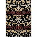 Gibraltar Black Striped Fleur de Lis Area Rug (7'10 x 10'10)