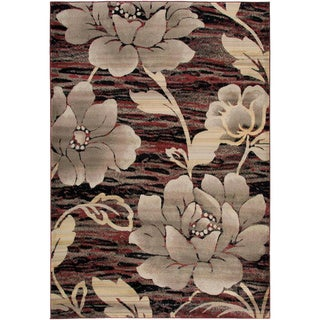 Gibraltar Red Transitional Floral Area Rug (7'10 x 10'10)
