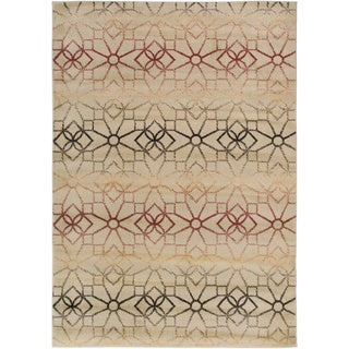 Gibraltar Beige and Multi Geometric Striped Area Rug (7'10 x 10'10)