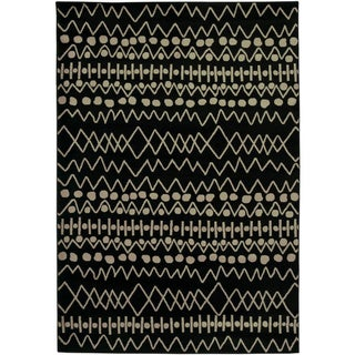 Gibraltar Black Geometric Lines Area Rug (7'10 x 10'10)