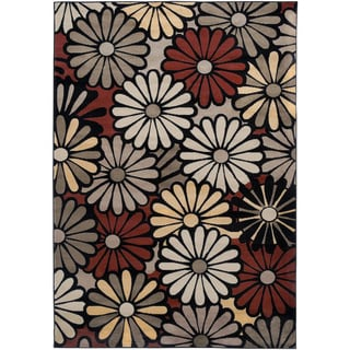 Gibraltar Black/ Multi Contemporary Floral Area Rug (7'10 x 10'10)