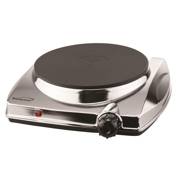 Brentwood TS-337 Electric Single Hotplate- Chrome Finish