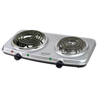 Brentwood TS-362 Electric Double Burner- Silver Finish