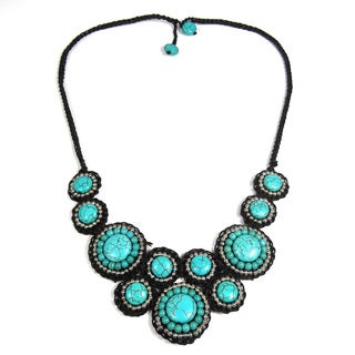 Mosaic Circles Turquoise Stone Unique Fashion Necklace (Thailand)