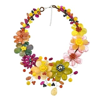 Handmade Vibrant Bouquet of Color Natural Stones and Pearls Floral Statement Necklace (Thailand)