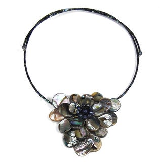Royal Lotus Flower Abalone Shell Choker Wrap Necklace (Thailand)