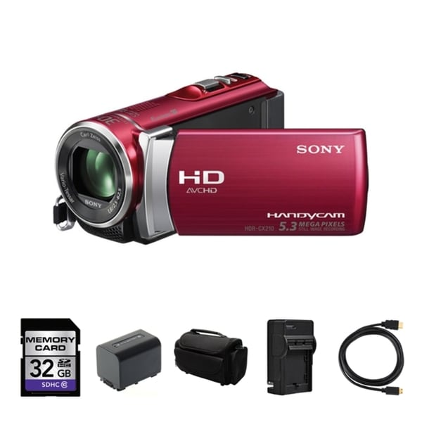 Sony HDR-CX210 High Definition Handycam Red Camcorder 32GB Bundle