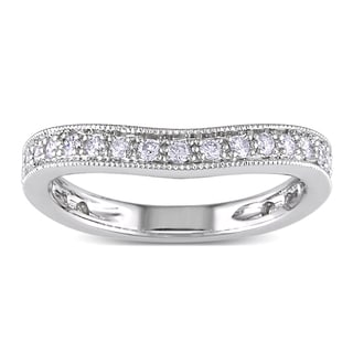 Miadora 14k White Gold 1/4ct TDW Curved Diamond Wedding Band (G-H, SI1-SI2)