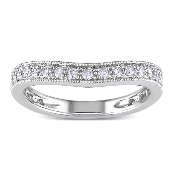 Miadora 14k White Gold 1/4ct TDW Curved Diamond Anniversary Ring (G-H, SI1-SI2)