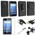 BasAcc Black Charger Set/ Leather Case Pouch/ LCD Protector for Samsung Infuse 4G i997