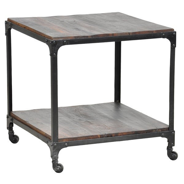 Butler specialty designers edge wood and rattan side table for Iron and wood side table