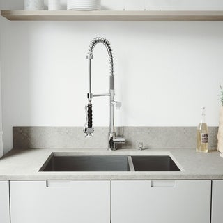 VIGO All in One 29-inch Undermount Stainless Steel Double Bowl Kitchen Sink and Chrome Faucet Set