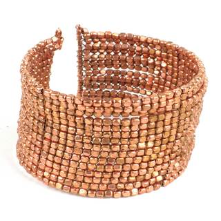 Handmade Copper Cubist Beaded Cuff (India)