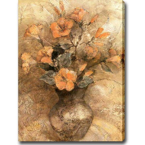 'Flowers in a Golden Vase' Giclee Print Canvas Art 11573483