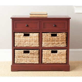 "Safavieh Herman Red 6-drawer Rattan Storage Unit - 29.9"" x 13"" x 27.6"""