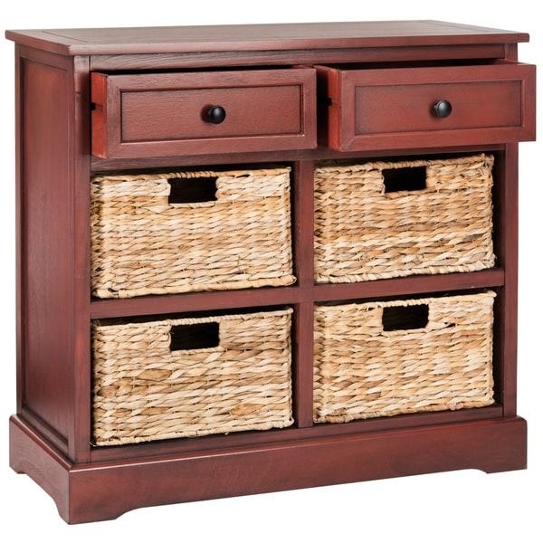 Herman red 6 drawer wicker basket kitchen bath linen home - Bathroom storage cabinet with baskets ...