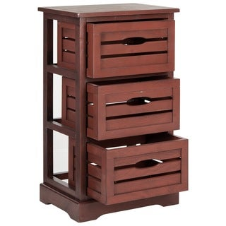 Safavieh Samara Red Storage 3-Drawer Cabinet