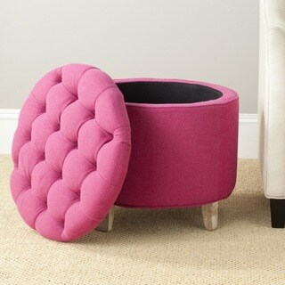 Safavieh Amelia Berry Polyester Tufted Storage Ottoman