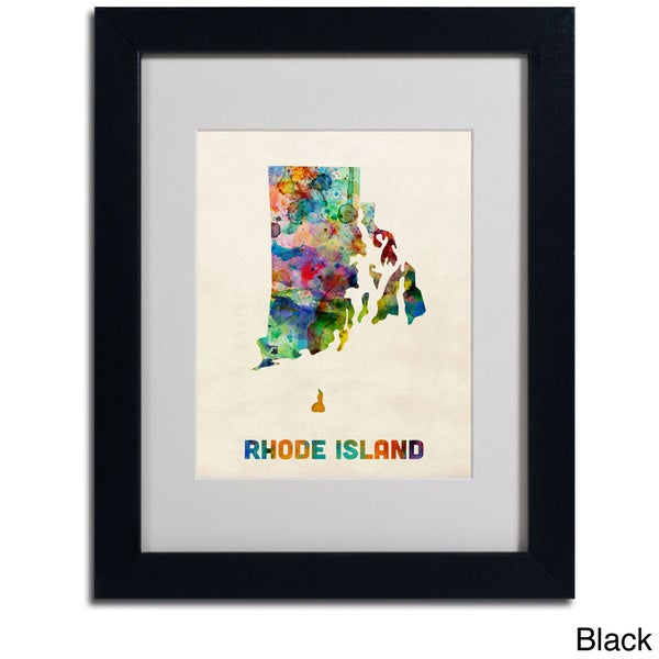 Michael Tompsett 'Rhode Island Map' Framed Matted Art