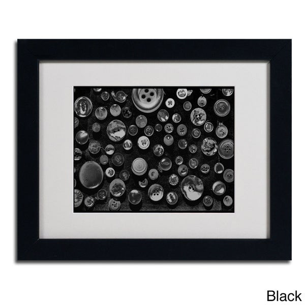 Patty Tuggle 'Black & White Buttons' Framed Matted Art