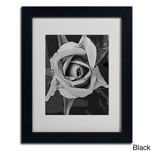 Patty Tuggle 'Black & White Rose' Framed Matted Art