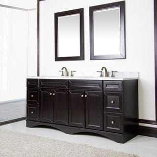 Espresso and Italian Carrera Marble 72-inch Double Sink Vanity by Sirio