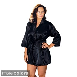 ICollection Lingerie Women's Plus Size Satin Robe and Sash