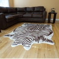 Zebra hide Brown and White Acrylic Fur Rug (5'x7')