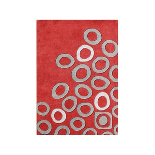 Fashion-N-You By Alliyah Hand Made Poppy Red New Zeeland Blend Area Rug 9x12