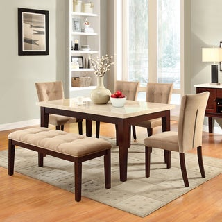 TRIBECCA HOME Colyton Almond Brown Suede Microfiber Faux Marble Top 6-piece Dining Set