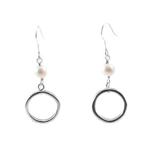 White Pearl and Silver-tone Metal Hoop Earrings (China)