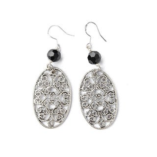 Silver-tone Filigree Oval Earrings with Black Crystal Bead (China)