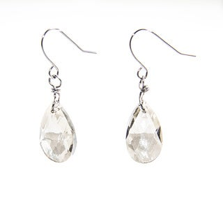 Sparkling Gray Crystal Bead Teardrop Earrings (China)