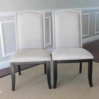 Set of 2 Beige Fabric Nailhead Upholstered Chairs