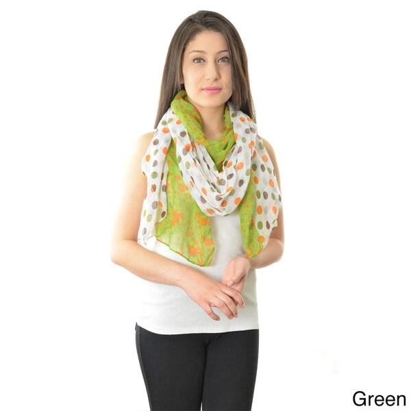 LA77 Polka-dot and Floral Reversable Scarf
