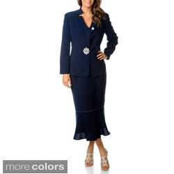 Giovanna Signature Women's Washable Rhinestone Embellished Skirt Suit