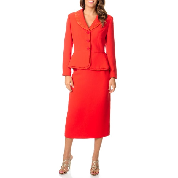 Giovanna Signature Womens Washable Peplum Embellished Skirt Suit