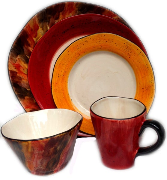Tortoise Shell Red and Brown Ceramic 5-piece Place Setting Bundle (Italy)